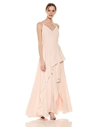 b585975c2695 Calvin Klein Womens Sleeveless V Neck Gown with Tiered Skirt, Blossom, 14
