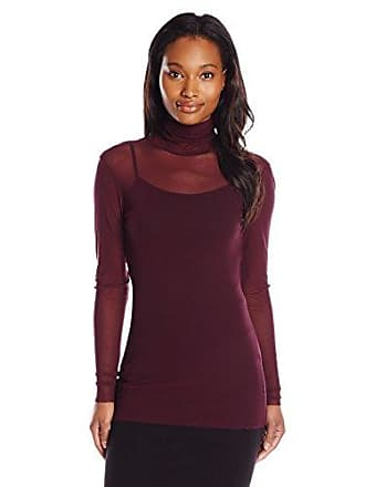 Only Hearts Womens Tulle Long Sleeve Pearled Neck 1 Ply, Wine, Medium/Large