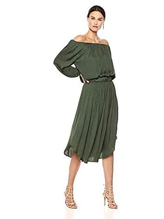 ae0f99599a1c Halston Heritage Womens Long Sleeve Scoop Neck Ruched Waist Dress, Forest  Medium