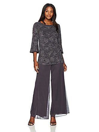 Alex Evenings Womens 2-Piece Pantsuit with Bell Sleeve Tunic Blouse (Petite and Regular Sizes), Smoke, 10
