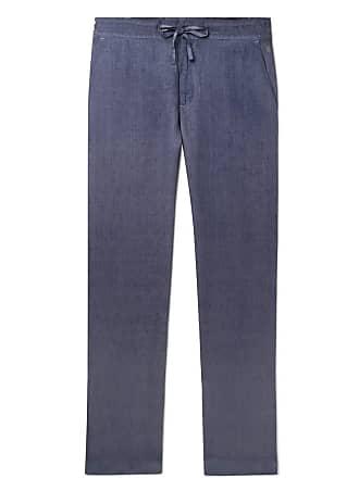 120% CASHMERE Garment-dyed Linen Drawstring Trousers - Storm blue
