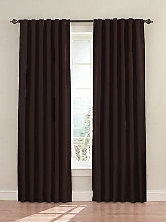Eclipse Blackout Curtains for Bedroom - Fresno 52 x 84 Insulated Darkening Single Panel Rod Pocket Window Treatment Living Room, Espresso