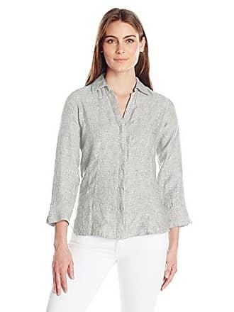 d0451d484b69a Foxcroft Womens 3 4 Sleeve Taylor Chambray Linen Shirt