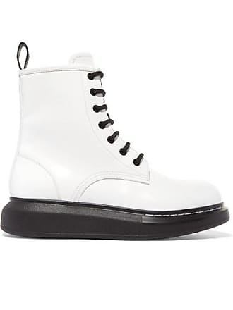 Alexander McQueen Glossed-leather Platform Ankle Boots - White