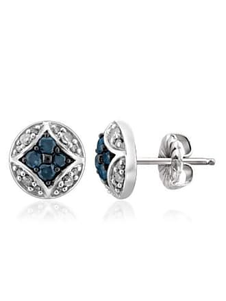JewelersClub JewelersClub 1/2 Carat T.W. Blue and White Diamond Sterling Silver Earrings