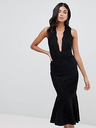 37a23df3e7e1 John Zack Tall allover lace midi dress with peplum hem in black - Black