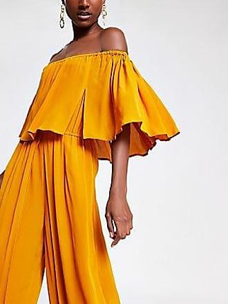 River Island Womens Yellow bardot wide leg jumpsuit