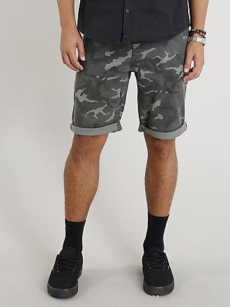 dd7946872 C&A Bermuda de Sarja Masculina Slim Estampada Camuflada Verde Militar