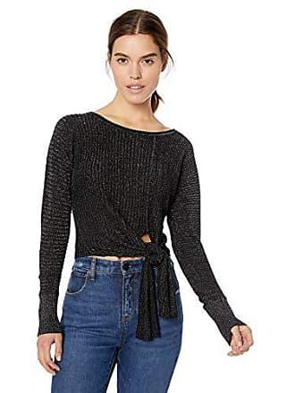 Ramy Brook Womens Benny Lurex Sweater, Black, Medium