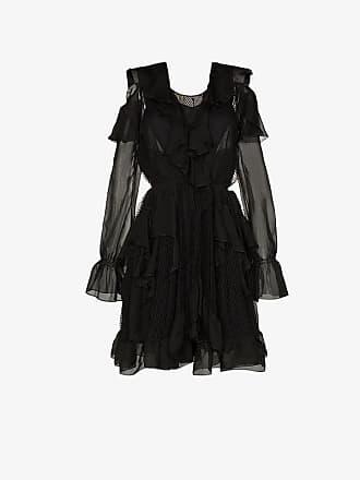 Faith Connexion cold-shoulder ruffle silk cotton blend mini dress