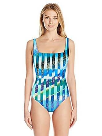 07037eb260e52 Gottex Womens Shaped Square Neck One Piece Swimsuit, Highline Multi Blue, 6