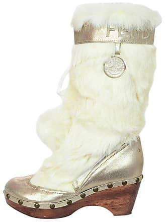 1718cad315cf Fendi White Fox Fur Silver Metallic Leather Wood Clog Boot Sz 39