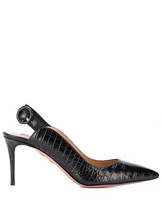 Aquazzura Sapato com textura crocodilo - Preto