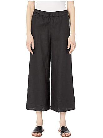 Eileen Fisher Organic Linen Wide Leg Cropped Pants (Black) Womens Casual Pants