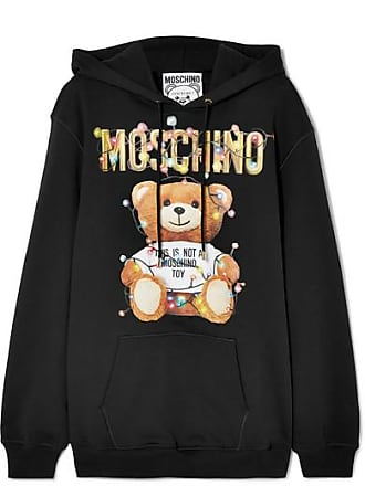 Moschino Printed Cotton-jersey Hoodie - Black