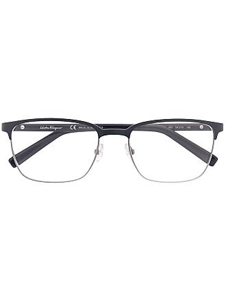 Salvatore Ferragamo Armação de óculos espessa - Azul