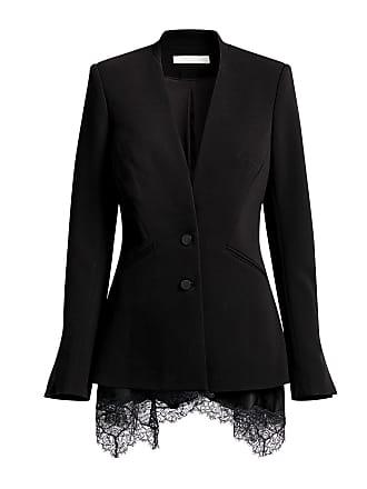 Jonathan Simkhai Basque Crepe Lace-Trimmed Blazer Black Stripe