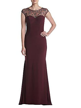 Xscape Womens Long Dress with Bead Illusion Top, Wine/Antique, 6