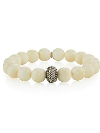 6928e0988c7 Sheryl Lowe Beaded White Bone Bracelet w/ Diamond Donut