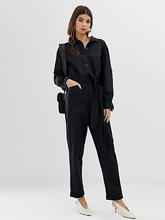 Asos boilersuit with button front and waist detail - Black