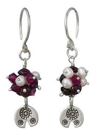Novica Cultured pearl and garnet dangle earrings, Karen Roses