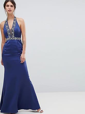 2f8feaee8da Minuet Maxiklänning med utsmyckningar och djup urringning - Marinblå