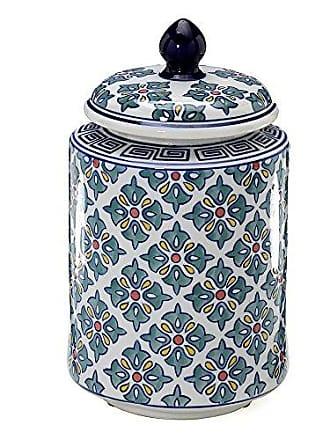 Mabruk Pote de Cerâmica Decorativo Com tampa Azul 118-354