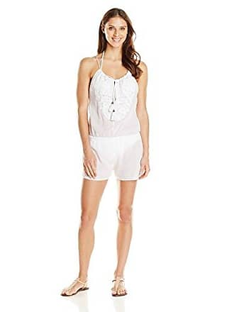 Vix Womens Solid White Emb Cali Jump Suit, Small