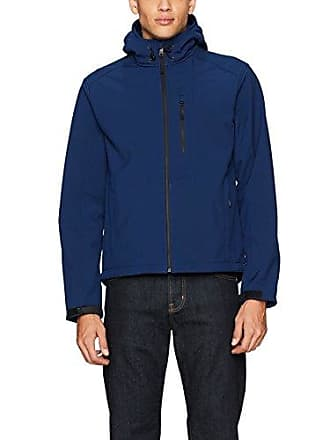 William Rast Mens Hooded Soft Shell Rip Stop Jacket, Estate Blue, X-Large