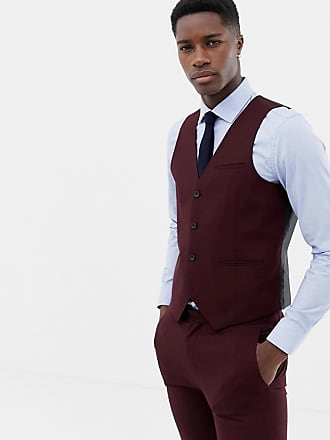 Only & Sons skinny suit vest in red - Red
