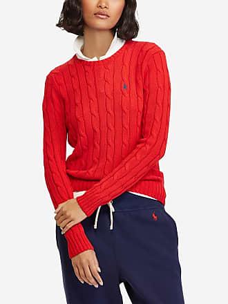 e07d2a6d48e Polo Ralph Lauren Pull à manches longues slim en coton maille torsadée  siglé Rouge Polo Ralph