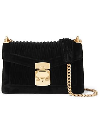 0d33beda28d7 Miu Miu Confidential Matelassé Velvet Shoulder Bag - Black