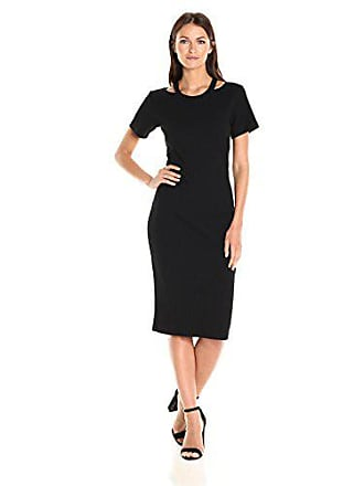 Nicole Miller Womens Riley Ribbed Knit Cut Out Dress, Black, P