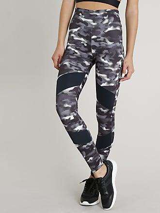 Ace Calça Legging Feminina Esportiva Ace Estampada Camuflada com Recorte Proteção UV50+ Preta