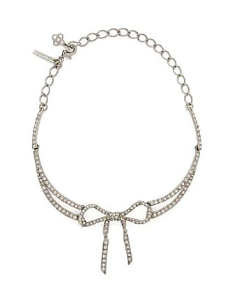 Oscar De La Renta Bow Crystal Embellished Necklace - Womens - Silver