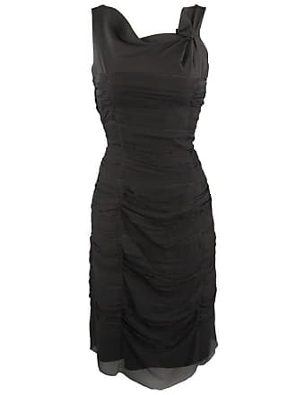 2516ea8d8bd Prada Size M Black Draped Chiffon Silk Sleeveless Cocktail Dress