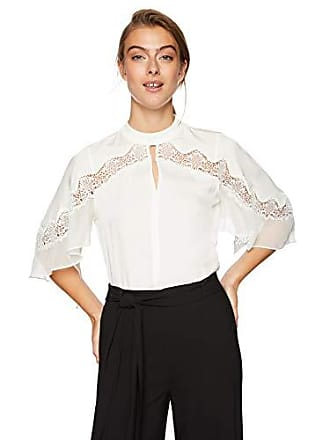 bb0fa9cd451fd1 Elie Tahari Womens Double Georgette LACE Inlay Jaylah Blouse, Fresh Pearl,  XL