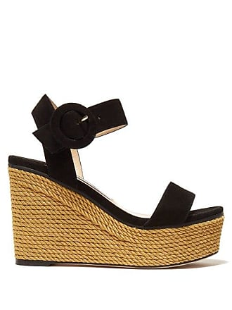 25771e9e219 Jimmy Choo London Abigail 100 Suede Wedge Sandals - Womens - Black Gold