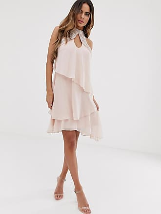 90a19e5057 Lipsy tiered swing mini dress in chiffon with embellishment in pink