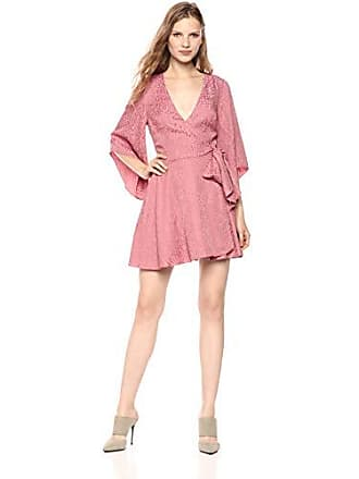 a1caee20f6de Finders Keepers Womens Heat Wave Pink Anima Print V Neck Long Sleeve Mini  Dress, L