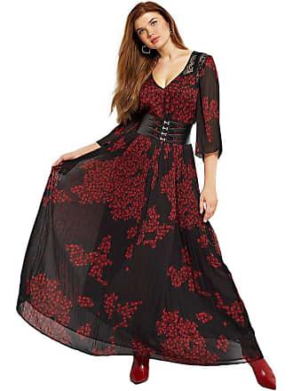 96f6854a8dd6c Guess Robe Longue Dentelle Femme W84k55 Noir et Rouge