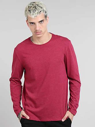 Basics Camiseta Masculina Básica Gola Careca Manga Longa Vinho