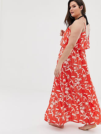 c636801044 Asos Curve ASOS DESIGN Curve double layer beach maxi dress in flamenco  floral stripe print -