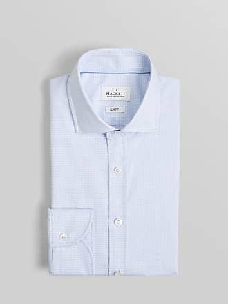 No.14 Savile Row Mens Micro Check Cotton Shirt   Size 145   Sky/White