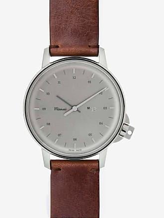 Miansai M12 Stainless Steel Swiss Watch   Vintage Cognac Leather