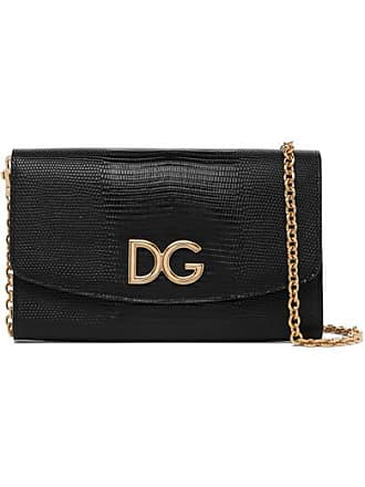 Dolce & Gabbana Lizard-effect Leather Shoulder Bag - Black