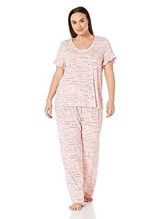 910e5f43c6 Hue Womens Printed Short Sleeve Tee and Long Pant 2 Piece Pajama Set, Rose  Shadow