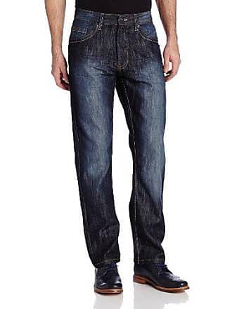 Southpole Mens 6181 Regular Straight Fit Shiny Streaky Denim in Dark Blue Sand, 34x30