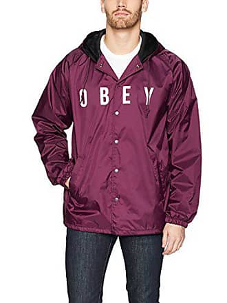 Obey Mens Anyway Coaches Jacket, Raspberry, Small