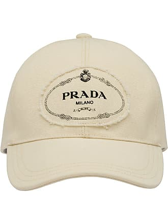 dbad5be2cf7 Prada logo print applique cotton cap - White